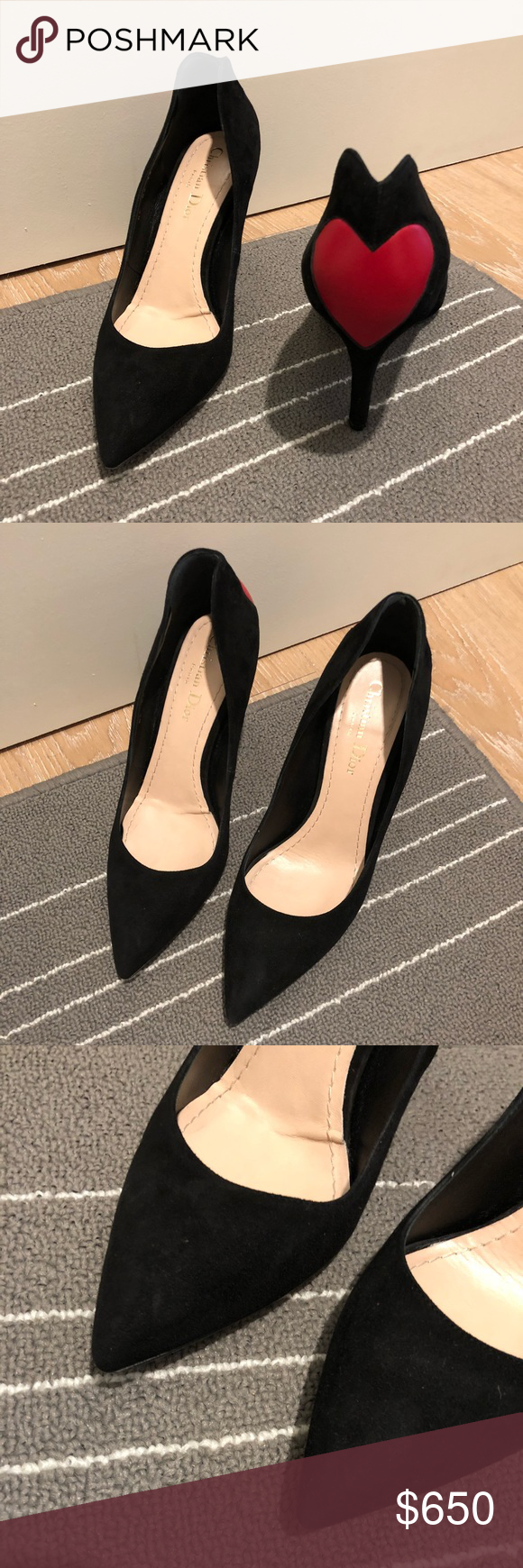 9e5dfd559 Christian Dior Black Heart Pumps 38 ❤ Beautiful black suede pumps from Christian  Dior. Has the adorable red heart on the back of heel.