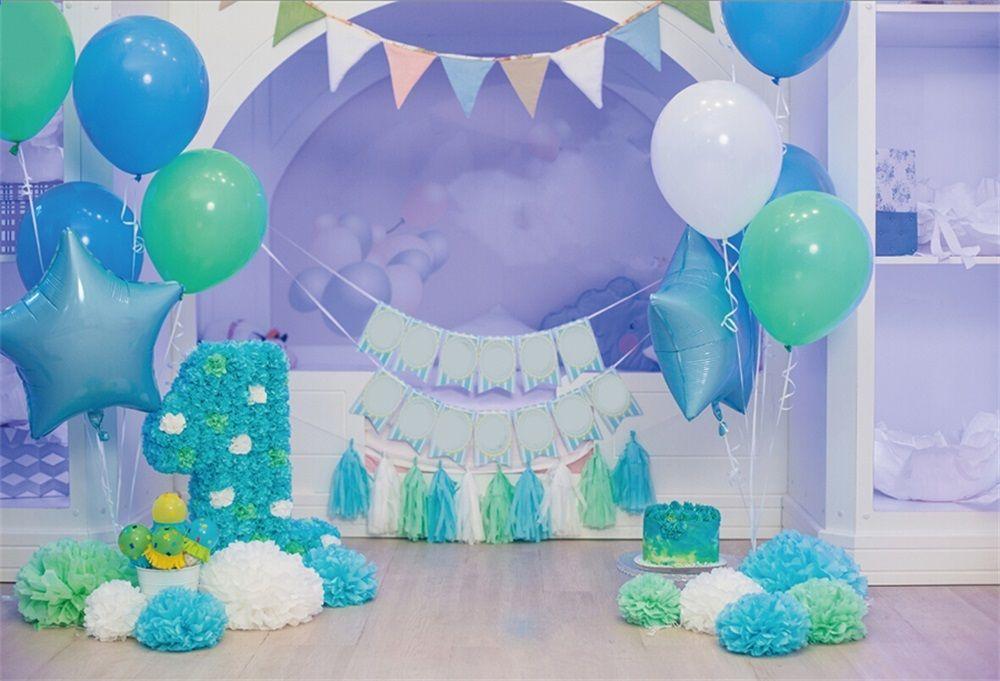 Laeacco Ballon Baby 1 Geburtstag Blau Dekor Floral Kuchen Ribbon