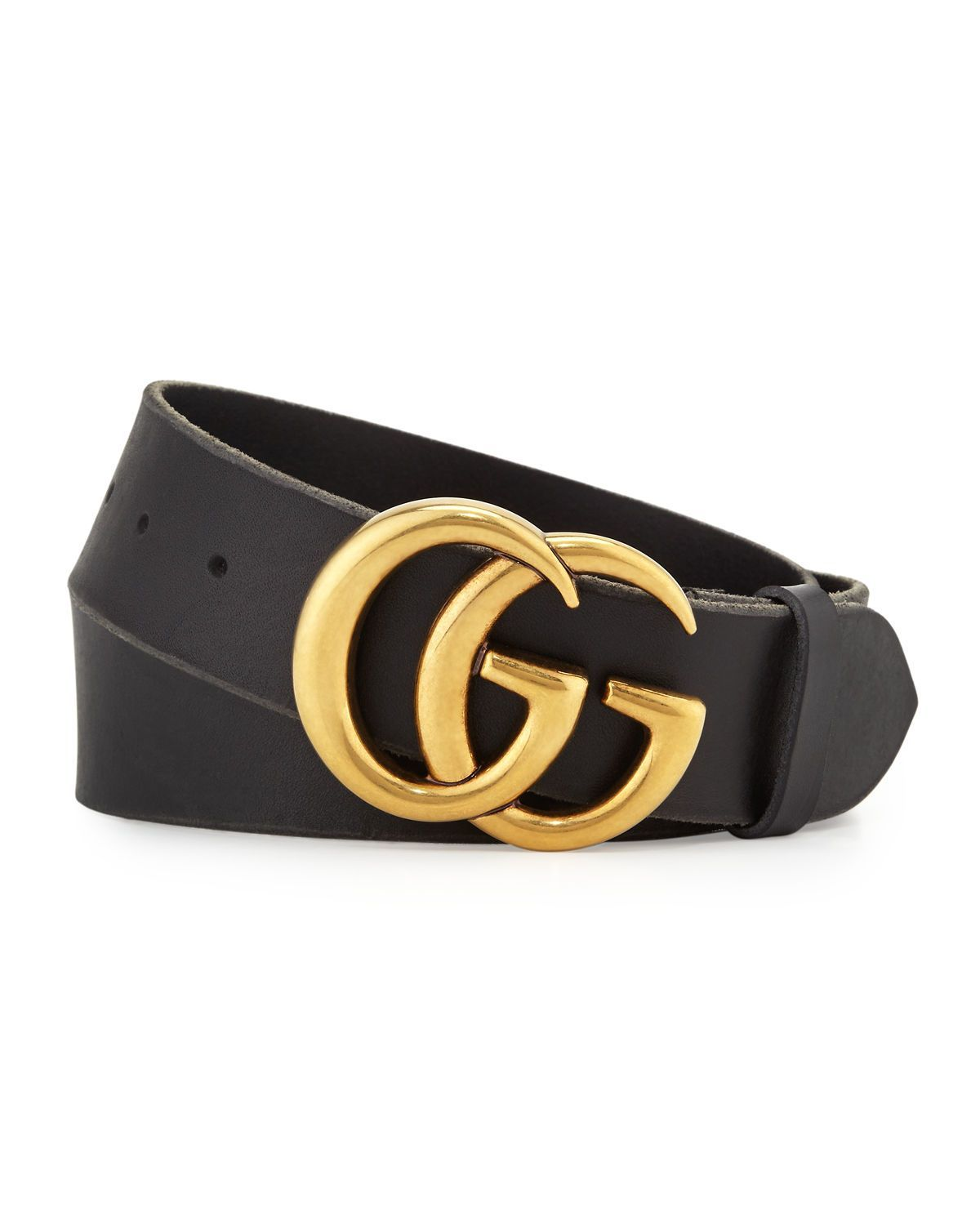 78a98b5db07 Smooth leather Gucci belt with double-G buckle. Brass hardware. 1.5