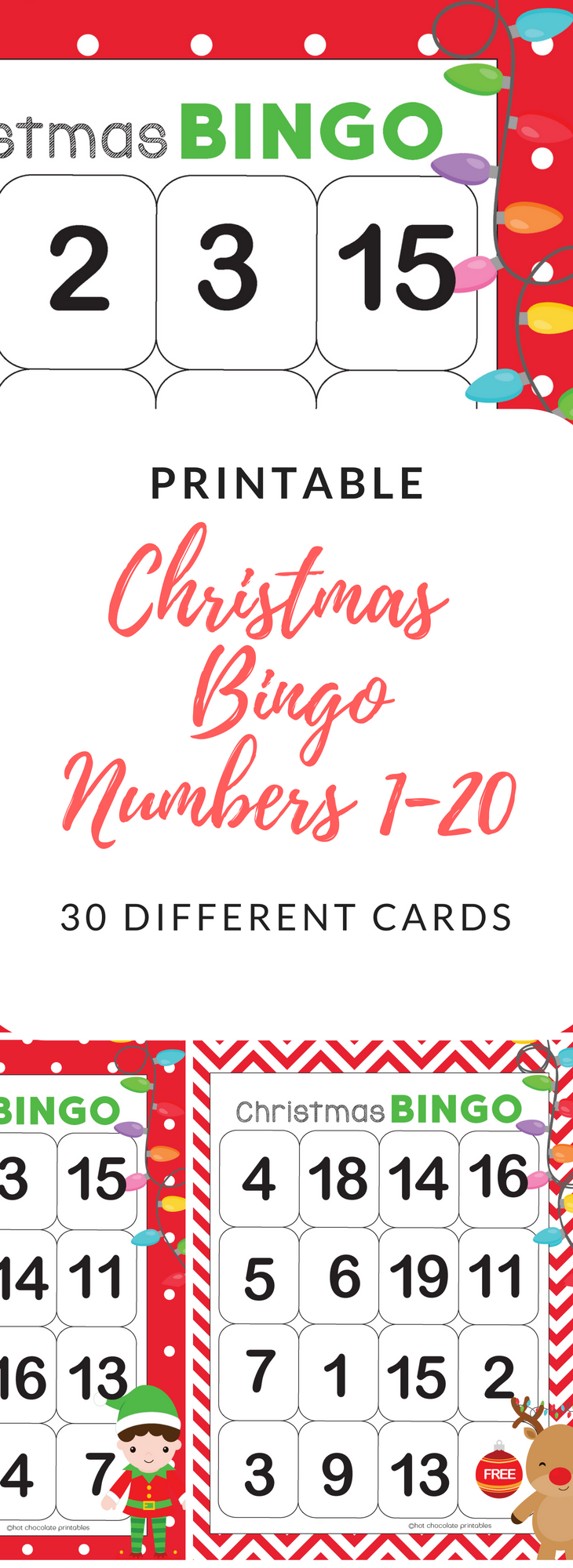 Numbers 120 Bingo Game Christmas Theme Teachers pay