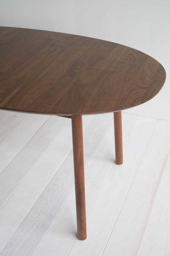 Walnut Oval Extension Table With Dowel Legs By Hedgehouse On Etsy