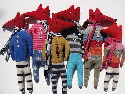 Reminds me of Guatemalan WORRY DOLLS...just foxier! Lol recycled wool foxes mary stanley
