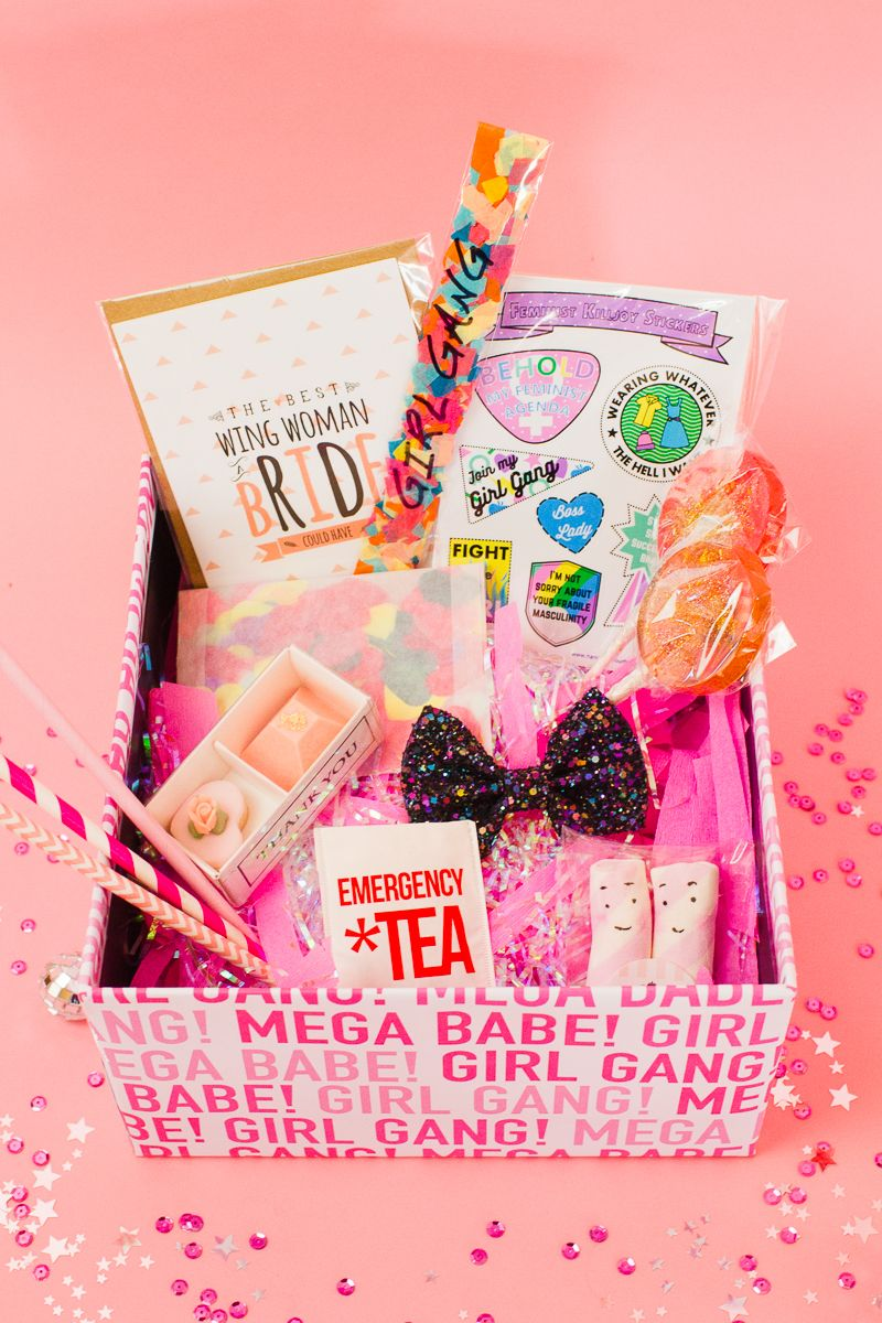 diy hen party kit with free printable girl gang wrapping paper