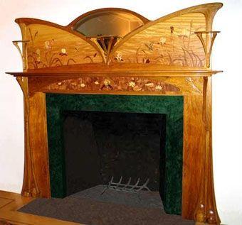 Art Nouveau Furniture   Art Nouveau Butterfly Fireplace Surround