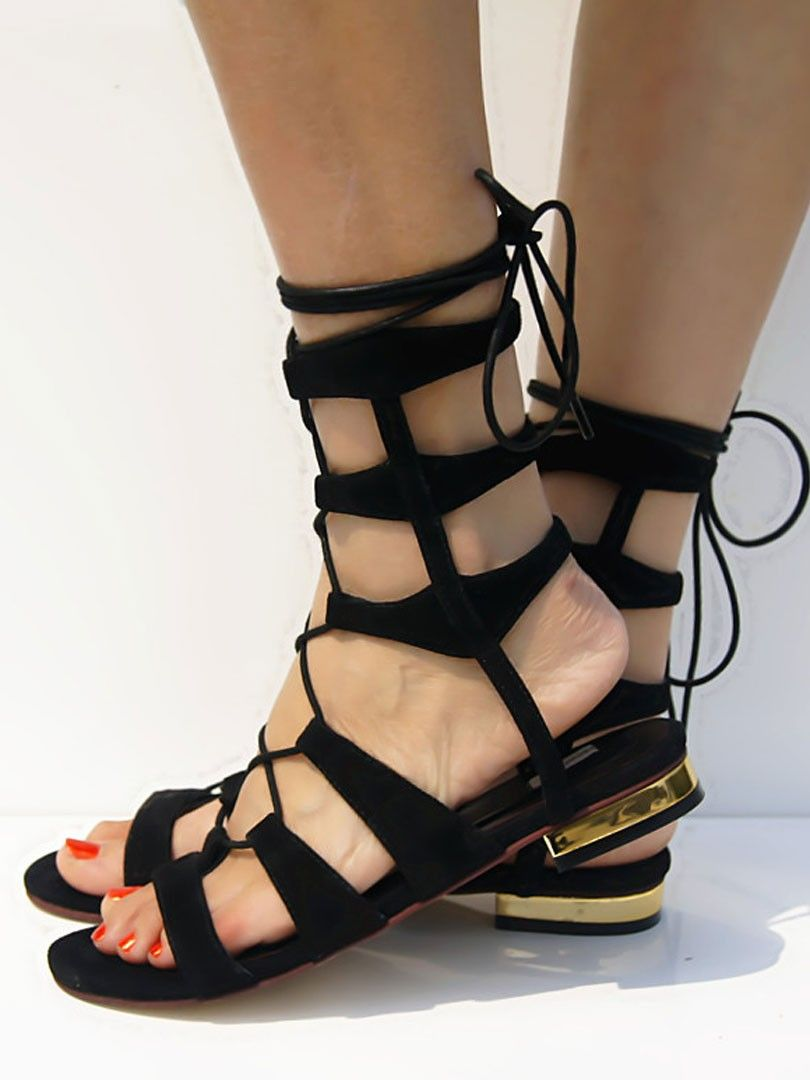 ee8b6a103030 Black Suede Lace-up Gladiator Sandals with Gold Heels - See more at  http