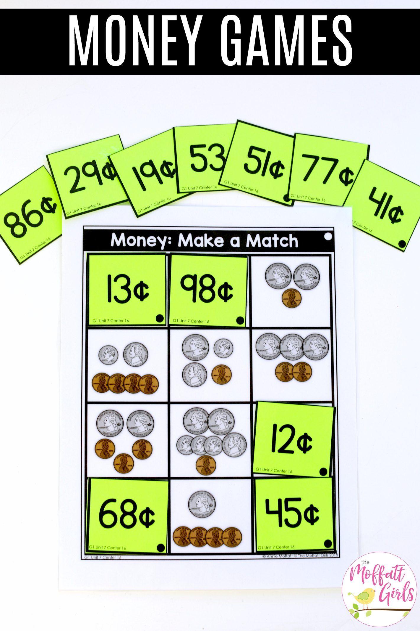 First Grade Math Money Money math, Money math stations