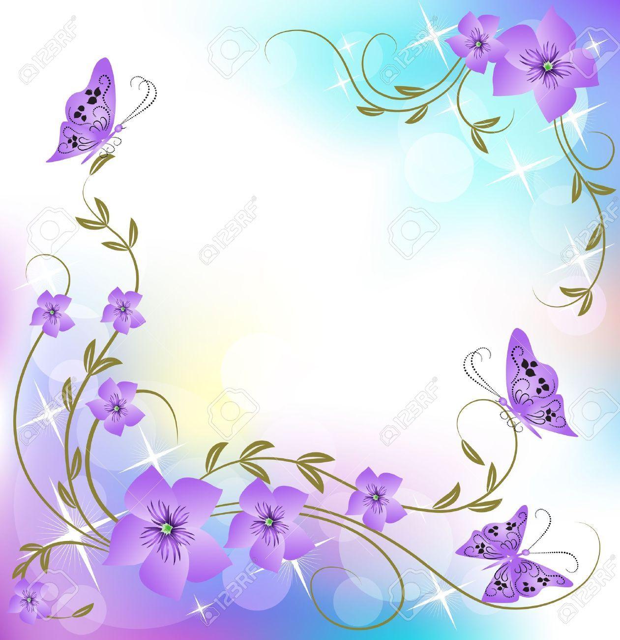 Lavender Background Wedding Wedding Invitation Border Flores Roxas Ideias De Manicure Molduras