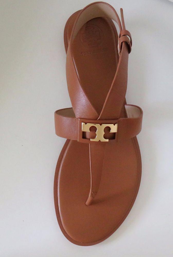 5b63d0fd9 Tory Burch GiGi Flat Sandals Royal Tan Leather Size 9  ToryBurch  Thong