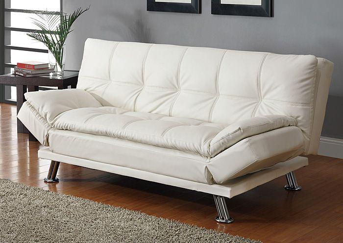 White Sofa Bed & Ottoman Coaster Furniture HOME
