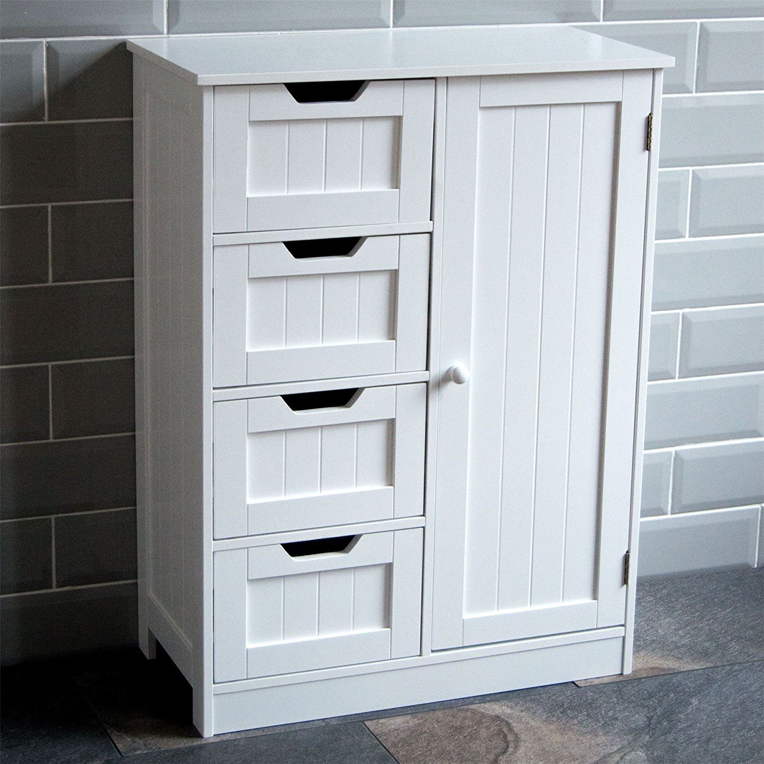 Tall Boy Storage Cabinet White Wooden Cupboard Bathroom Unit