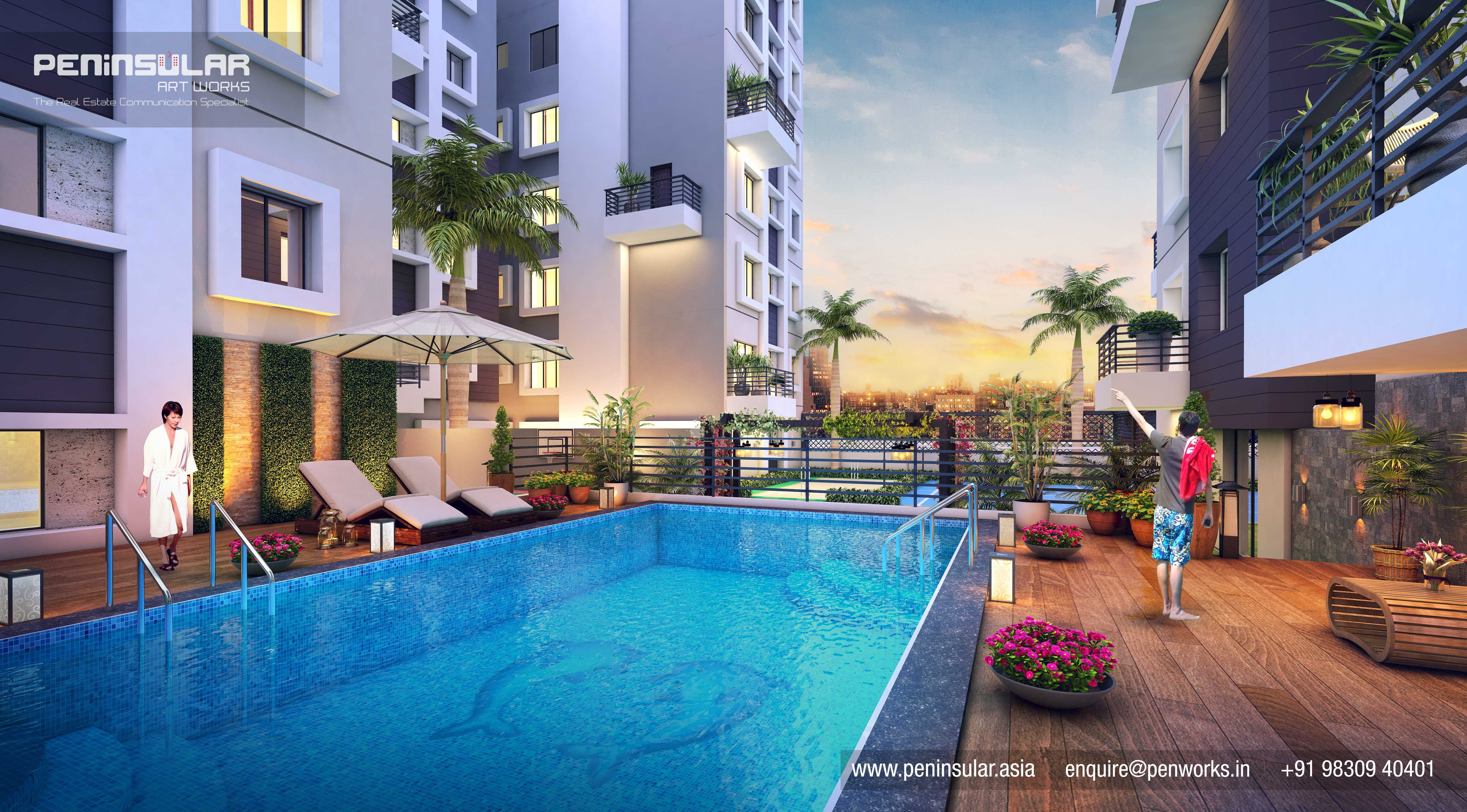 3d Rendering By Team Peninsular Art Works View Pool View