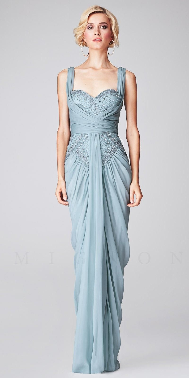 Sweetheart Beaded Ruched with Front Drape Evening Dresses by Mignon ...