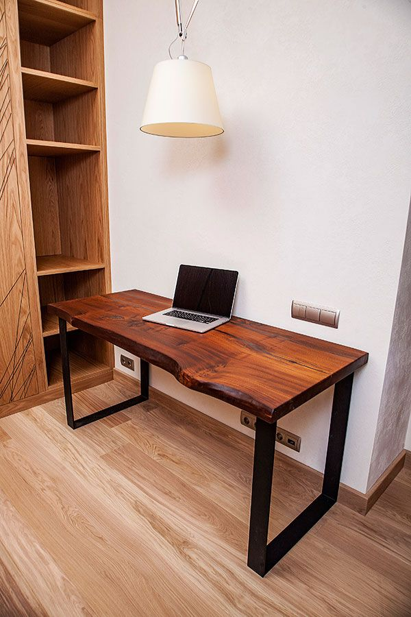 Working Desk Made Of Wood And Metal The Table Top Is Made Of Solid Elm Wood The Legs Of The Desk Table Metal Modern Wood Desk Wood Desk Top