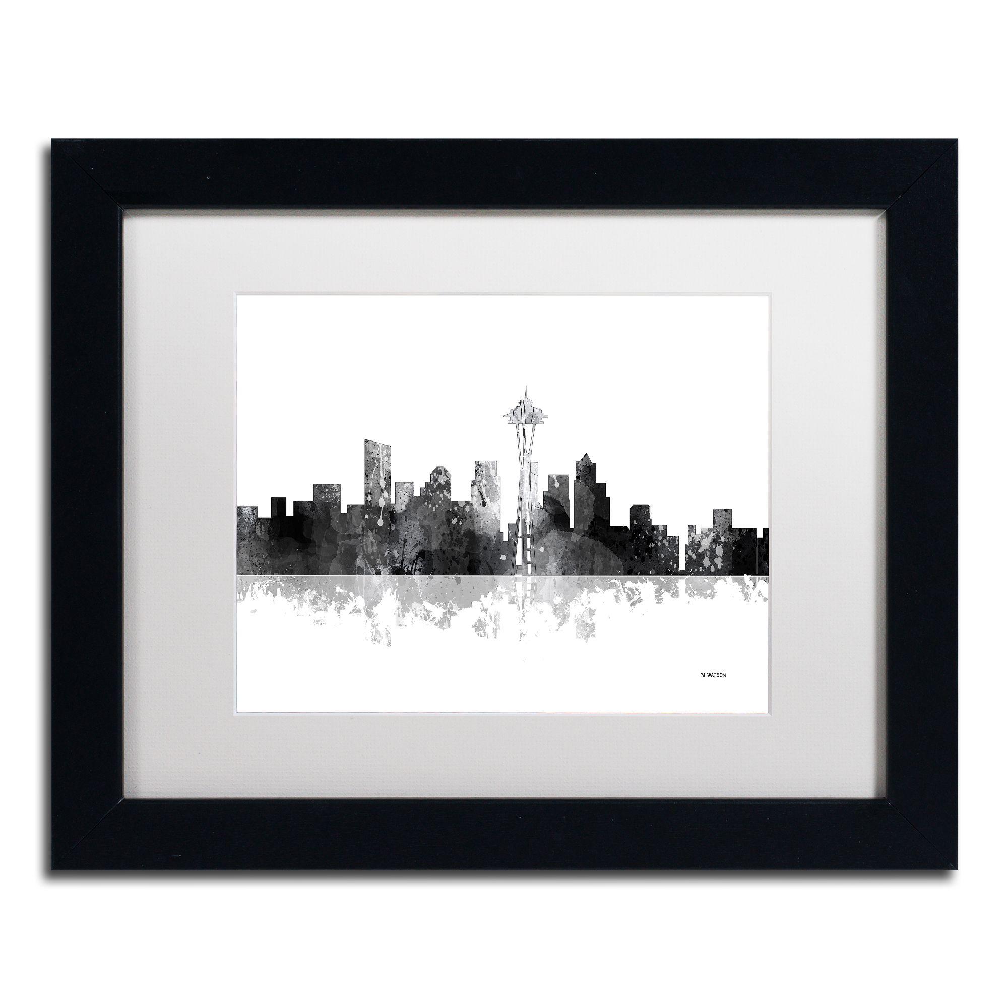 Marlene Watson \'Seattle Washington Skyline BG-1\' Matted Framed Art ...