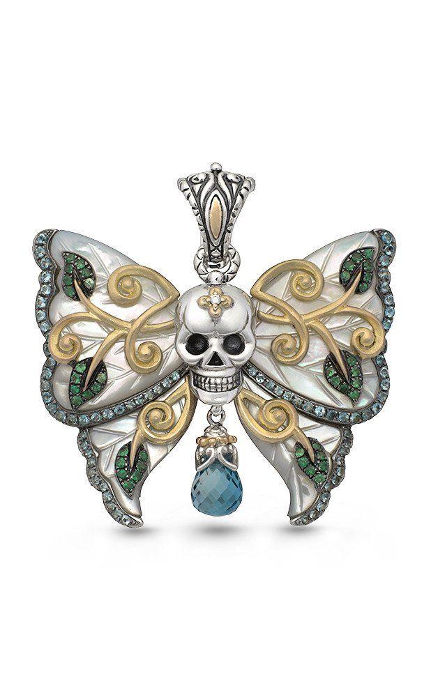 Zen Garden Butterfly Skull Pendant   White Mother of Pearl, Diamonds, Topaz & Tsavorite is part of Zen garden Box - 4 W Diamond weight 0 01cts (approx ) Blue Topaz weight 0 60 cts (approx ) Tsavorite weight 0 30 cts (approx ) London Blue Topaz weight 2 24cts (approx )