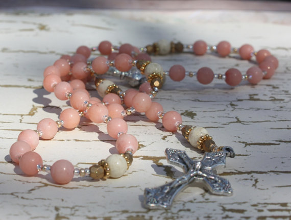 Rosary Beads in Lovely Pink dyed Coral with by BlueMantleCreations, $107.00