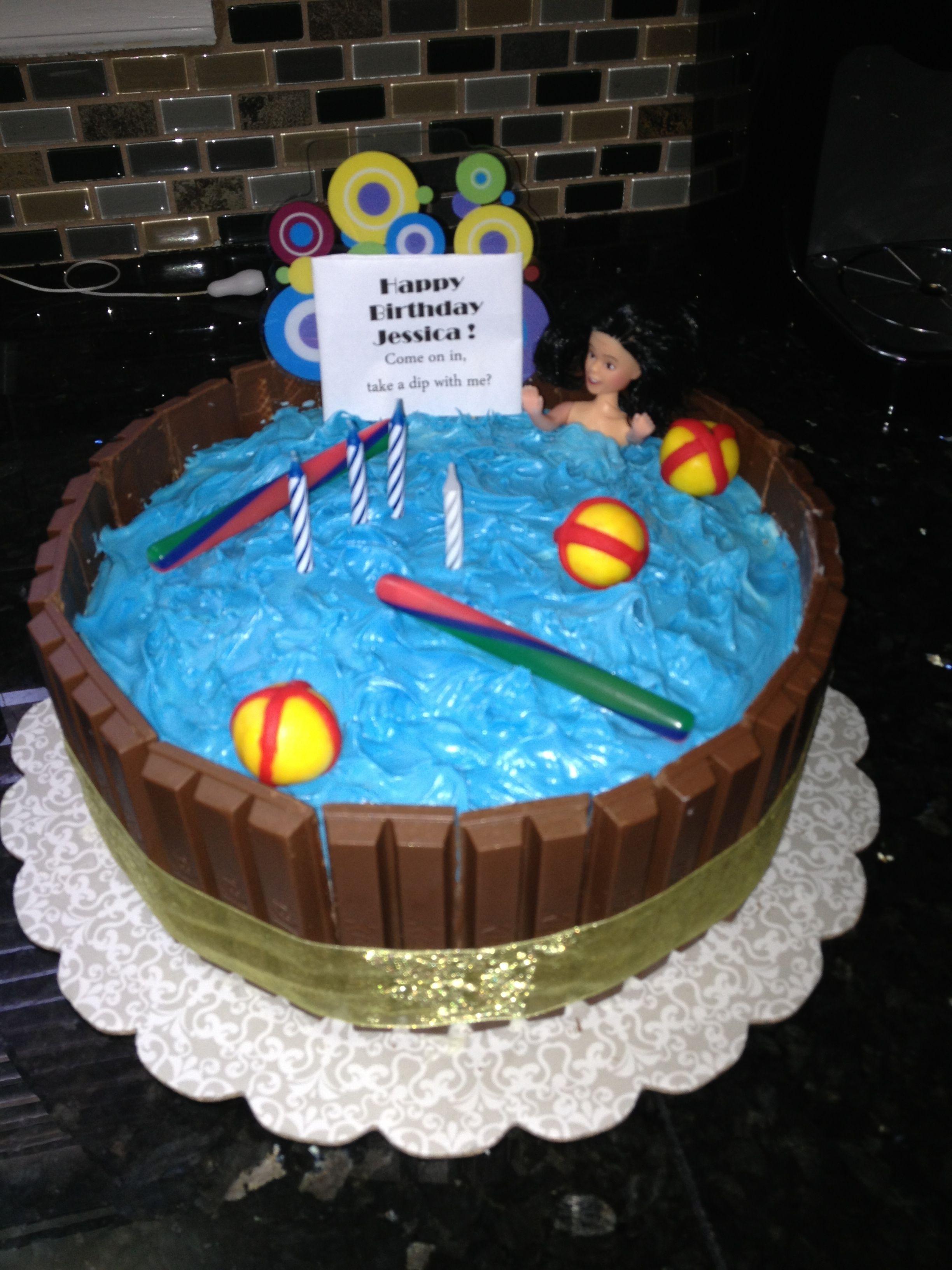 Kit Kat Pool Cake Pool Party Cakes Pool Cake 8th Birthday Cake