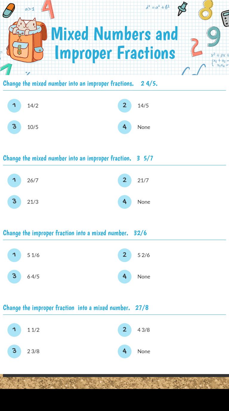 Wizer Me Improper Fractions Fractions Blends Worksheets [ 1380 x 768 Pixel ]