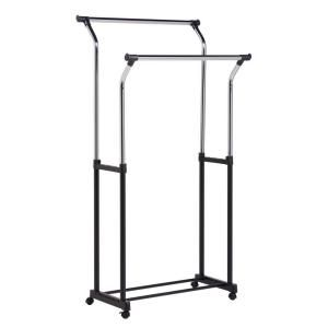 Home Depot Garment Rack New Honeycando Flared Double Bar Steel Rolling Garment Rack In Black Inspiration