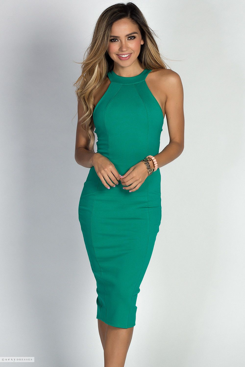 Simple Cage Back High Neck Halter Green Classy Cocktail Dress ...
