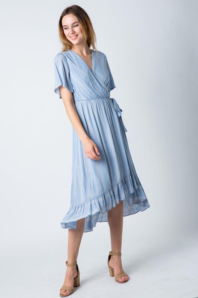 Darlene Dress In Dusty Blue In 2021 Casual Dress Outfits Long Blue Dress Casual Dusty Blue Bridesmaid Dresses [ 1200 x 800 Pixel ]