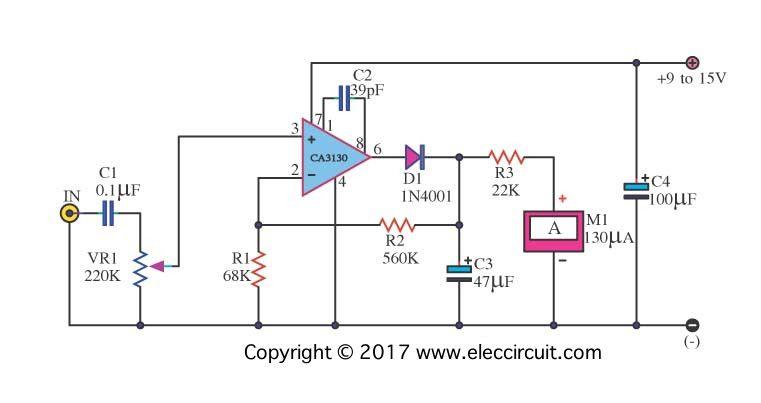 peak reading vu meter circuit meters detectors in 2019 rh pinterest com