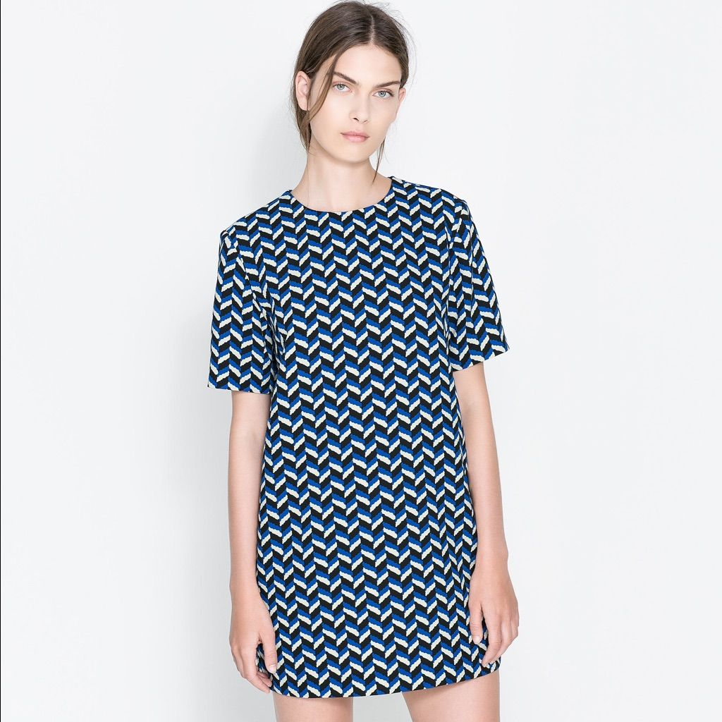 1d57ab6e Zara Uk Retro Printed Chevron Blue Shift Dress | Products | Dresses ...
