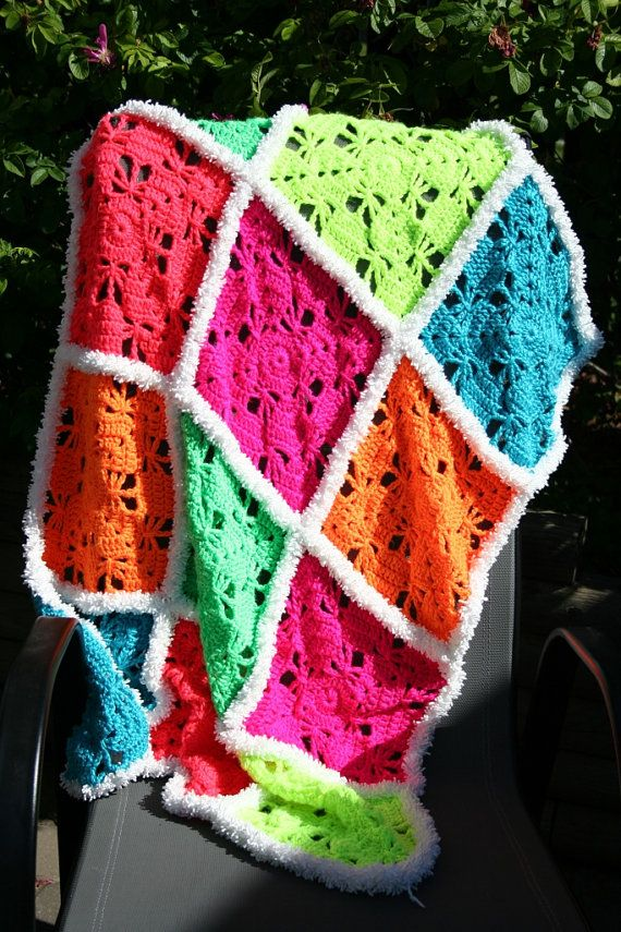 Neon Colors Crochet Butterfly Garden Granny Square Baby Toddler ...