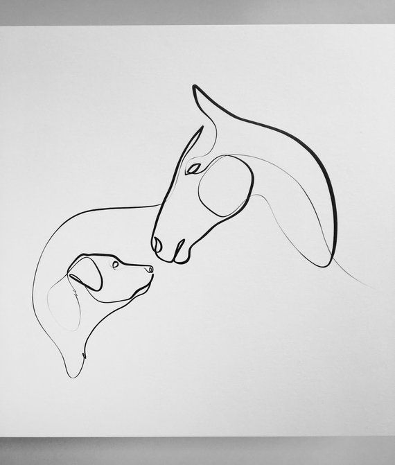Photo of Horse and Dog Art, Horse Print, Minimal Horse and Dog, A Line Drawing, Lab Art, Horse Gifts, Line Art, Labrador Retriever Art