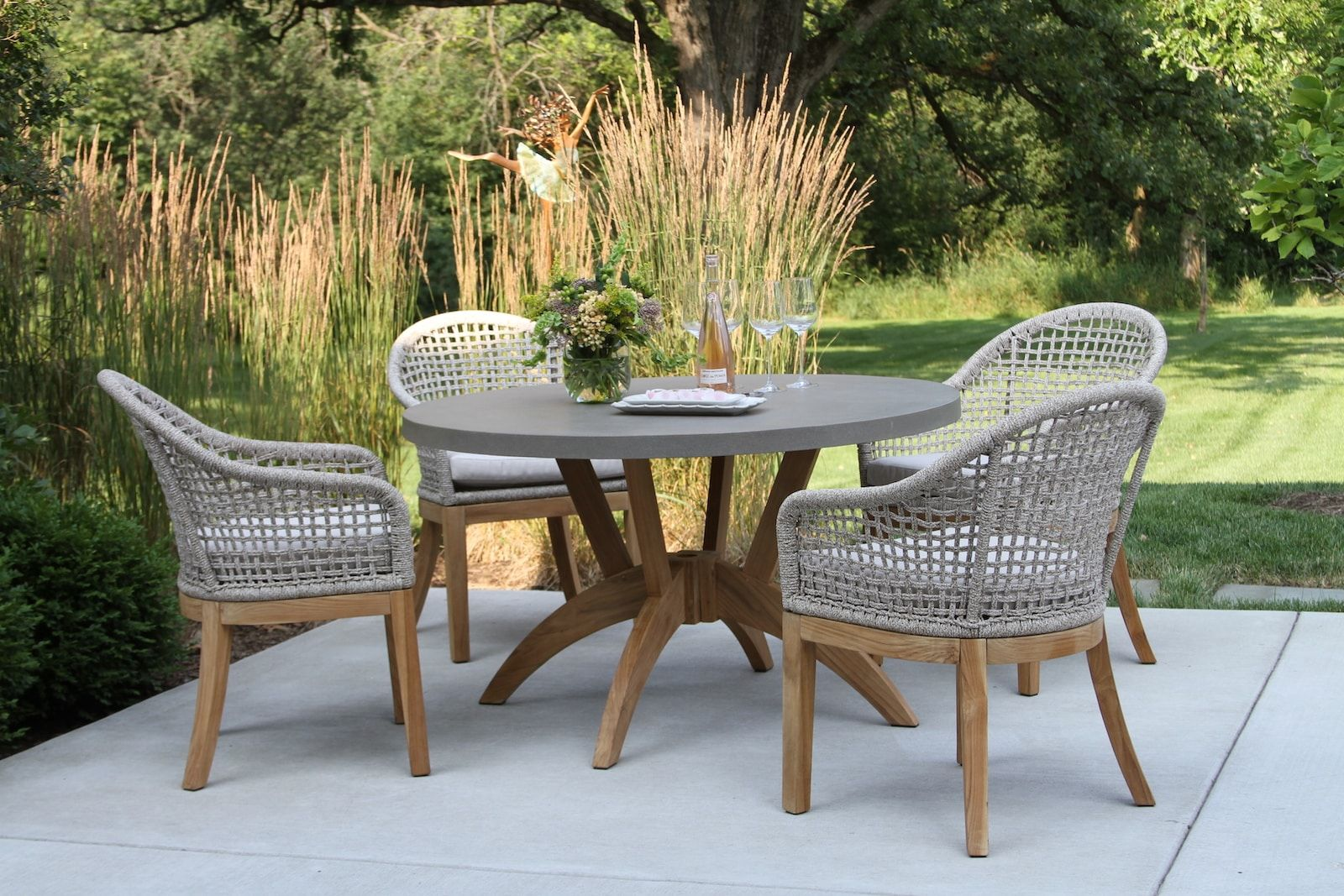 Nautical Rope Teak Dining Chairs With Sunbrella 2pk In 2020