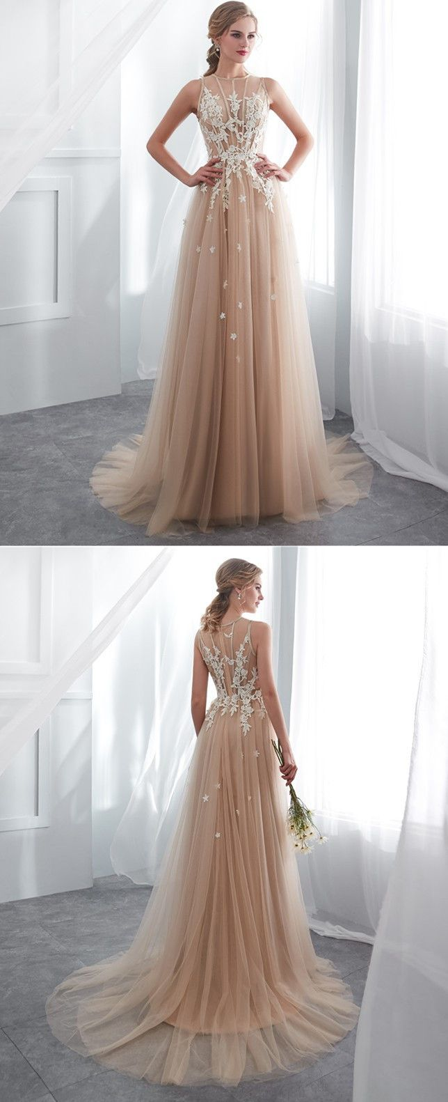 Gorgeous long champagne prom dress with white lace homecoming