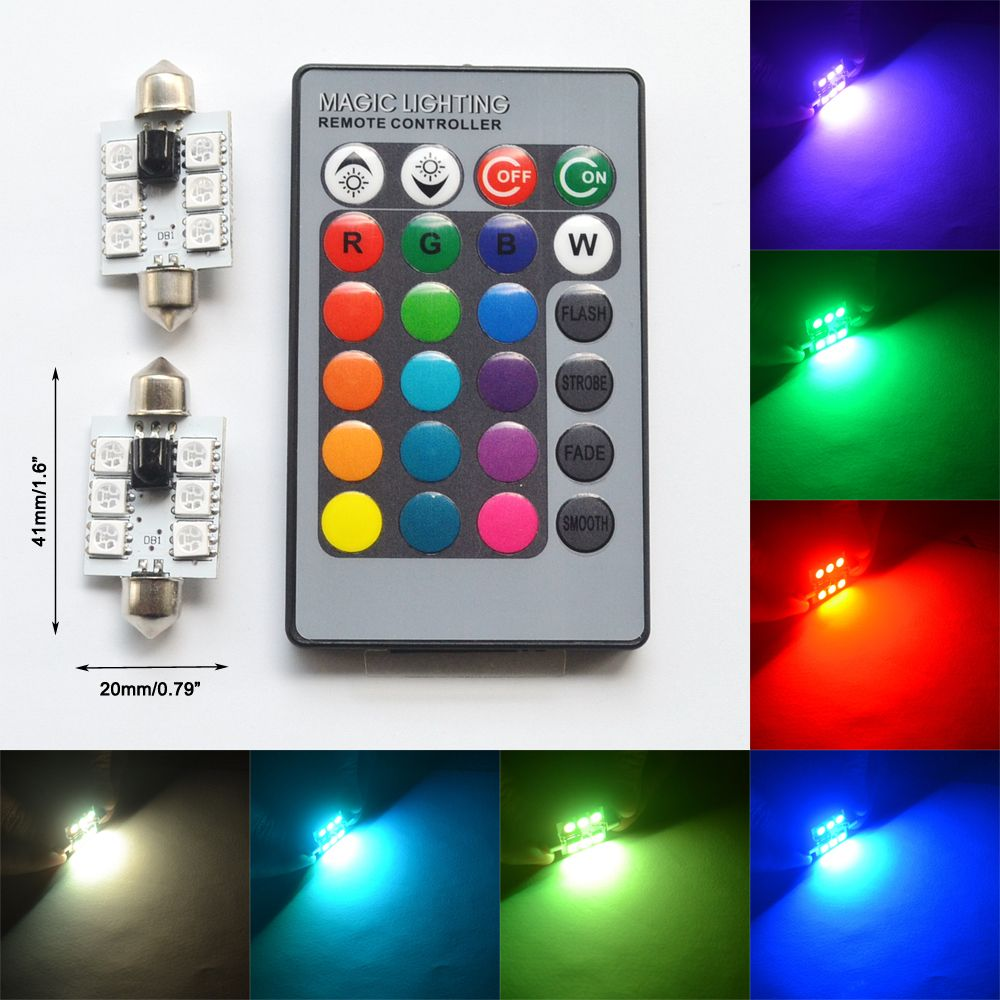 2pcs Rgb 5050 6smd Festoon Light C5w Dome Car Led Automobile Lantern Dimmer Flasher Auto Remote Controlled Colorful