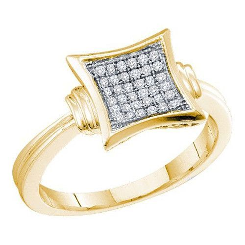 10k Yellow Gold 0.10Ctw Diamond Micro-Pave Ring