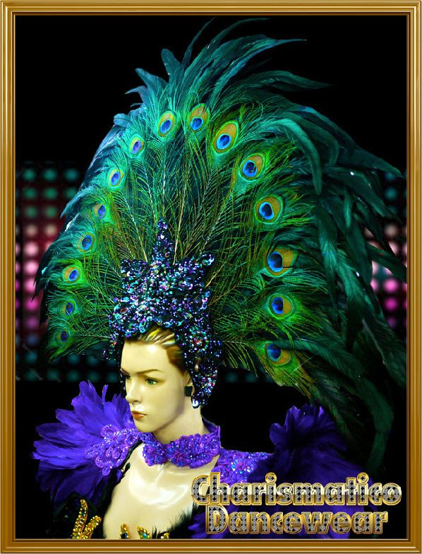 CHARISMATICO Blue Drag Queen Headdress with green and purple feather accent