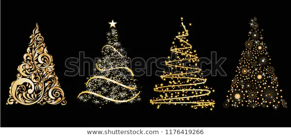 Set Gold Vector Stylized Christmas Tree Stock Vector Royalty Free 1176419266 In 2020 Gold Christmas Tree Stylized Gold Christmas
