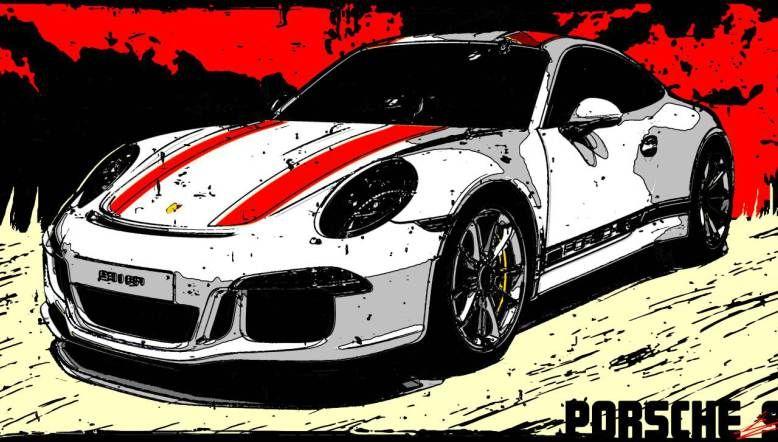 tableau porsche 911 r peinture voiture sport course