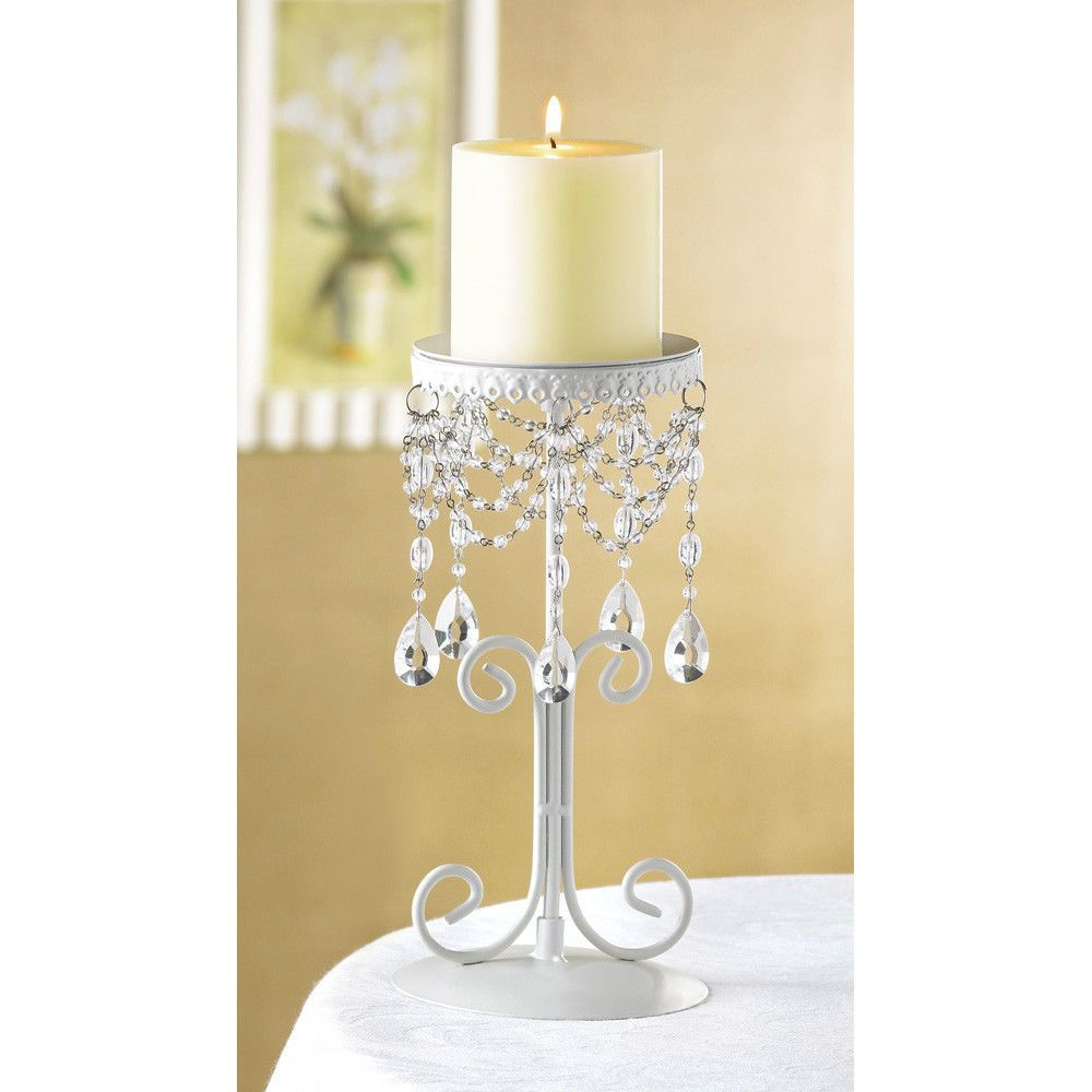 Wrought iron candle stand with acrylic beading candle stand