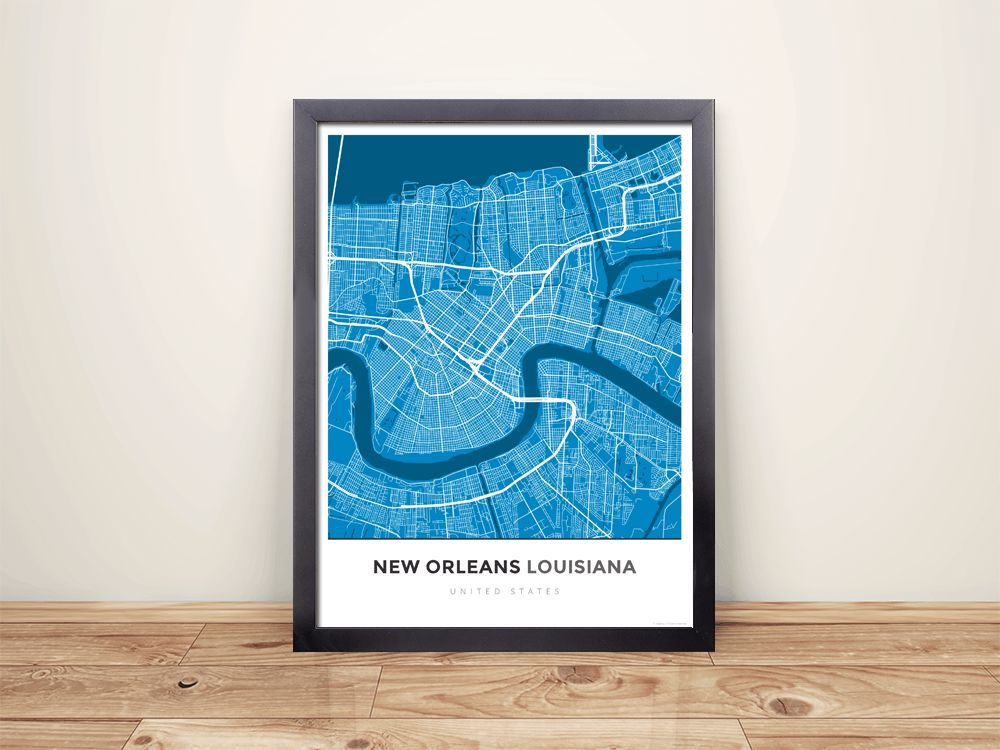 Framed Map Poster of New Orleans Louisiana Simple Blue Contrast