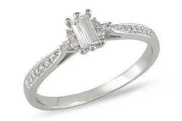 1/4 Carat Diamond 10K White Gold Engagement Ring