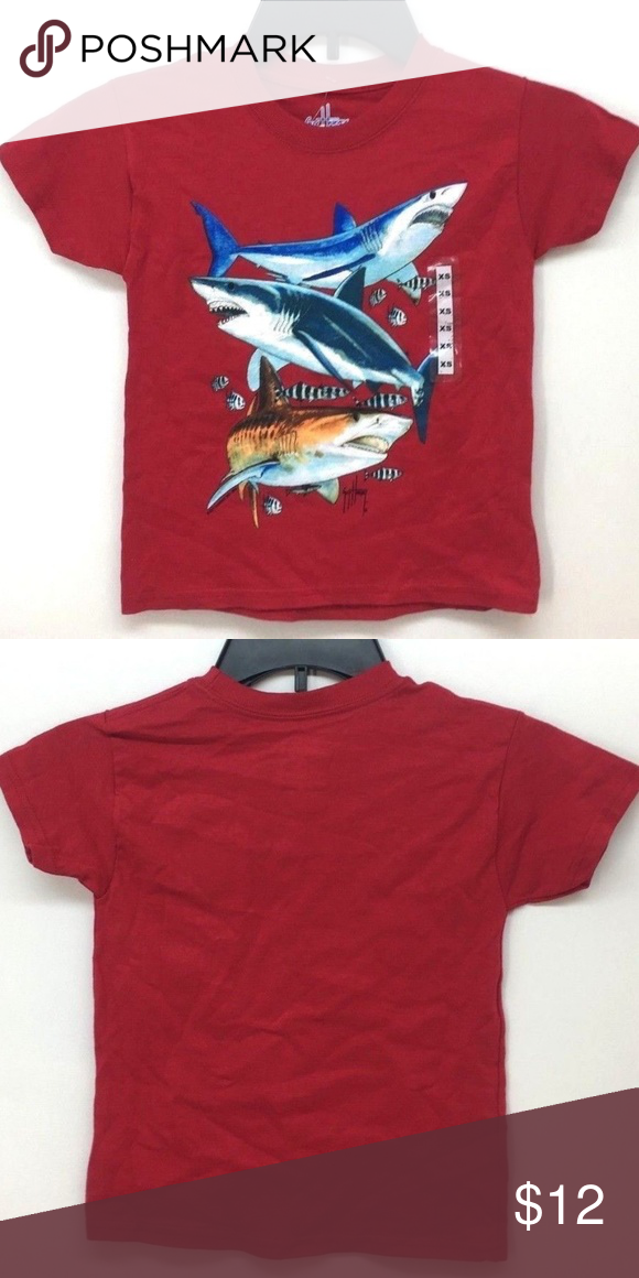 88e4cb4a Guy Harvey Boys Shark Collage SS Red T-Shirt Sz XS Guy Harvey Boy's Shark  Collage Short Sleeve Red T-Shirt Sz XS Full screen print design for vivid  colors.