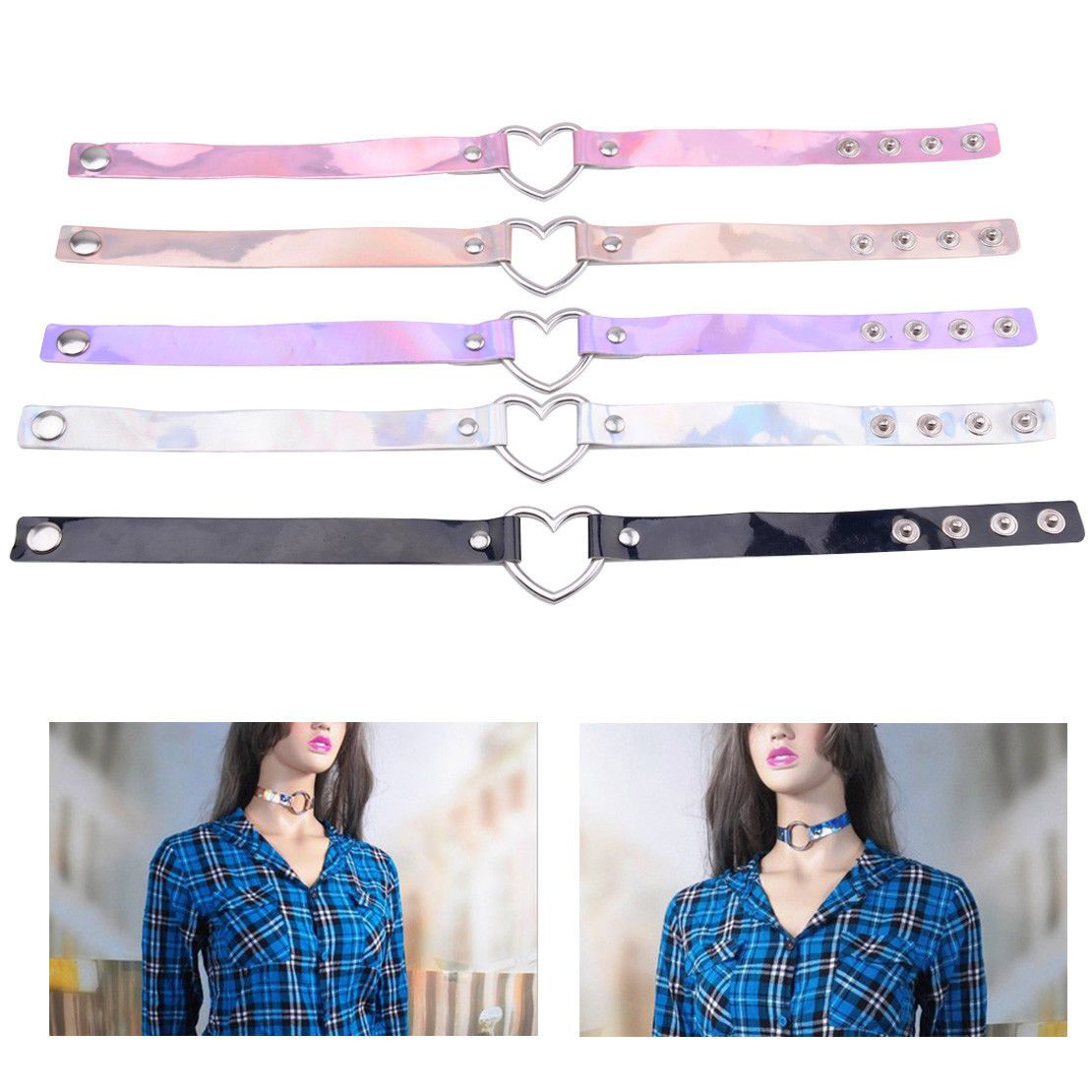 Holographic Choker Punk Laser Leather Love Heart Collar Necklace Rivet Buckle