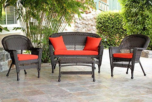 4Piece Espresso Wicker Patio Chairs Loveseat  Table Furniture Set  Red Cushions -- Read more  at the image link.
