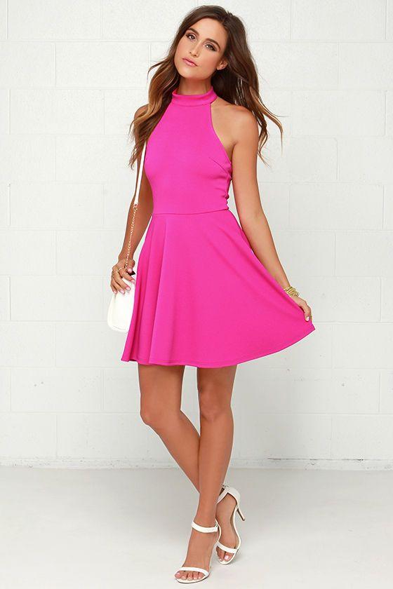 Mink Pink Poetic Justice Fuchsia Halter Dress | Poetic justice ...