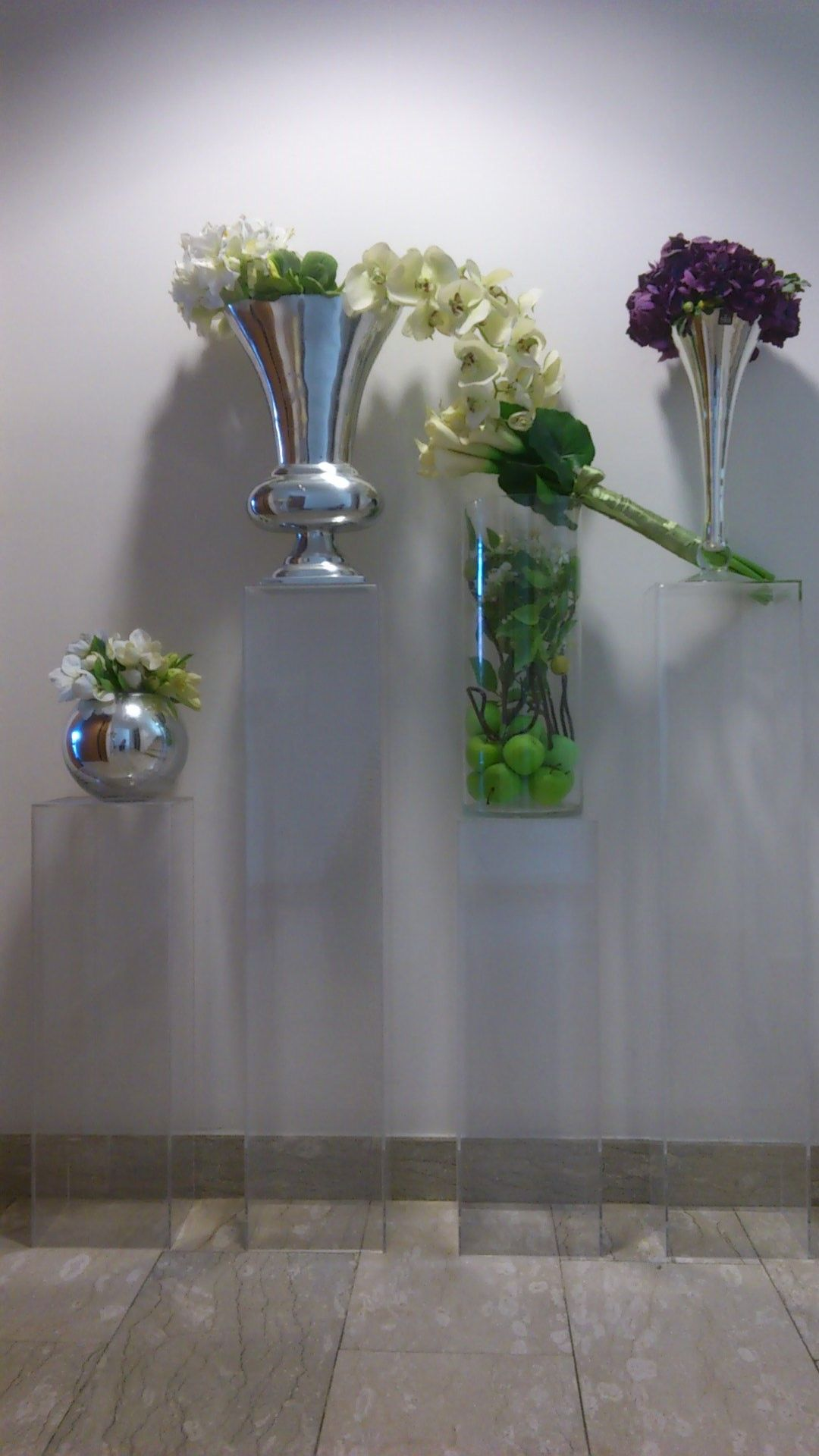 Clear Acrylic pillars Succulents Eco Chic Events