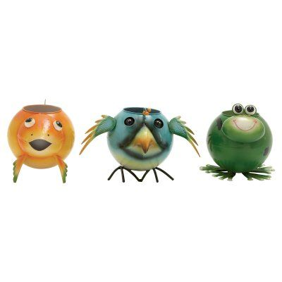 DecMode Fish Bird and Frog Planters - Set of 3