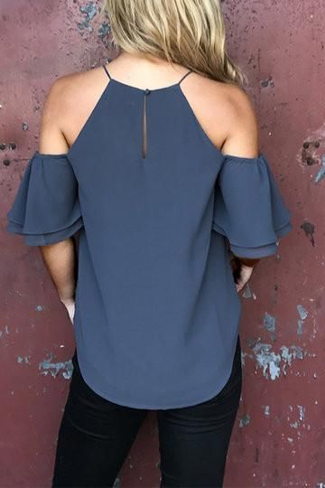 4c87a802ad Blue Layered Cold Shoulder Button Hole Top en 2019