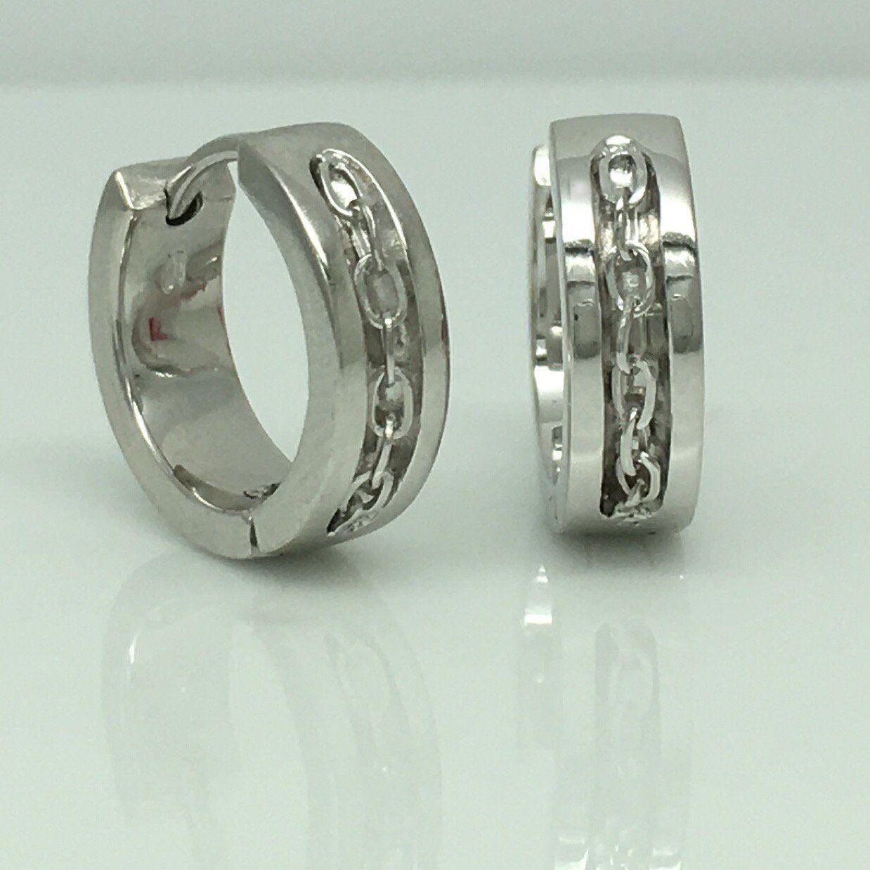 Men S Hoop Earrings Handmade From Sterling Silver Inset Chain Links E149sw