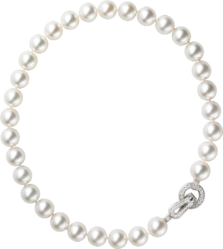 Agrafe necklace White gold, diamonds, pearls