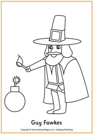 Guy Fawkes Colouring Page | Holiday - Bon Fire Night | Pinterest ...