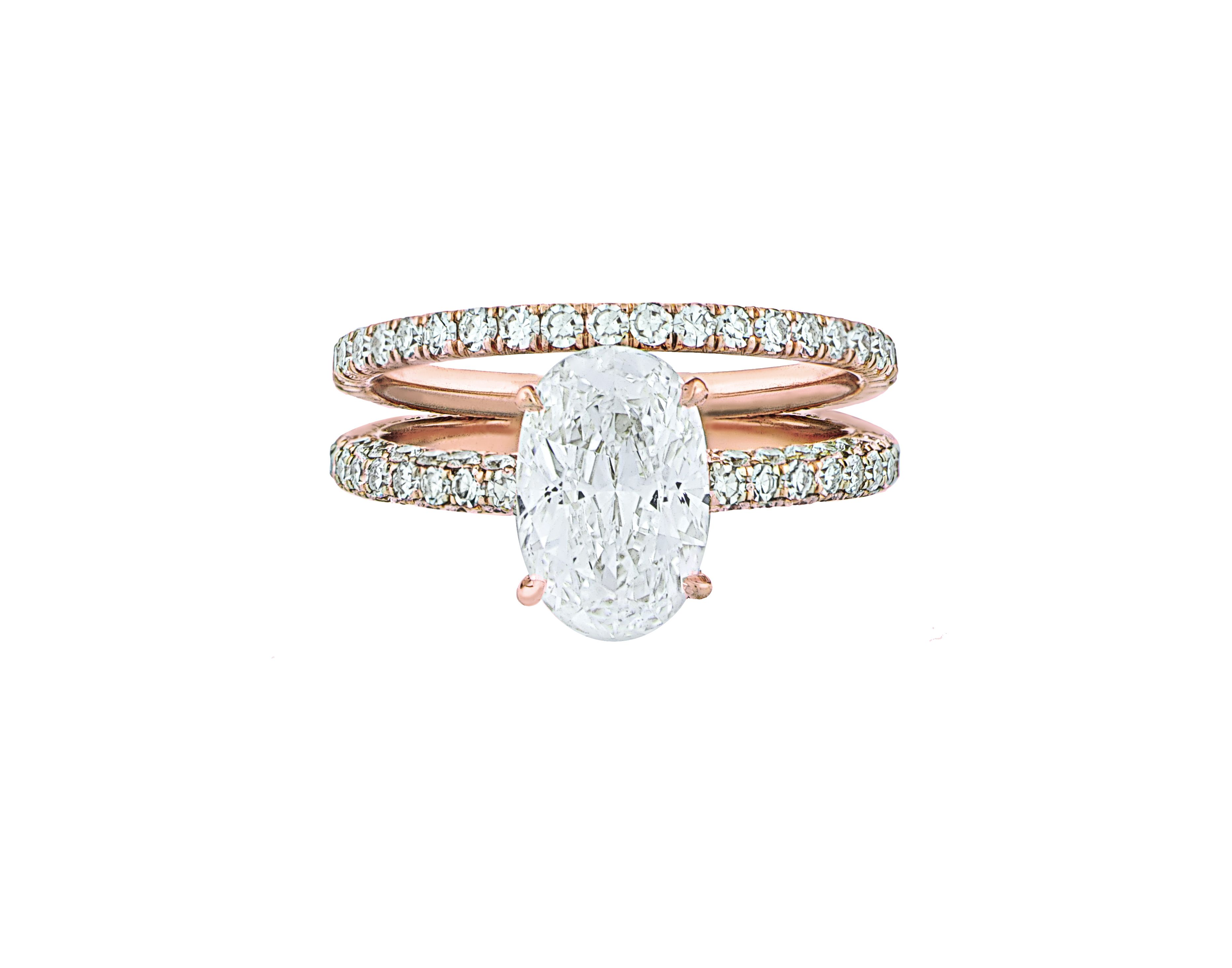 Oval Diamond Engagement Ring with Micropave in Rose Gold and